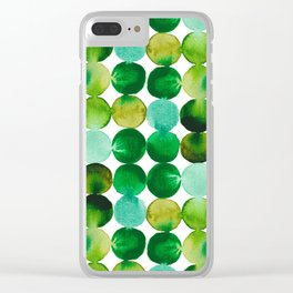 Green Watercolor Circles Pattern Clear iPhone Case