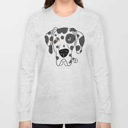 Harlequin Great Dane Face Long Sleeve T-shirt