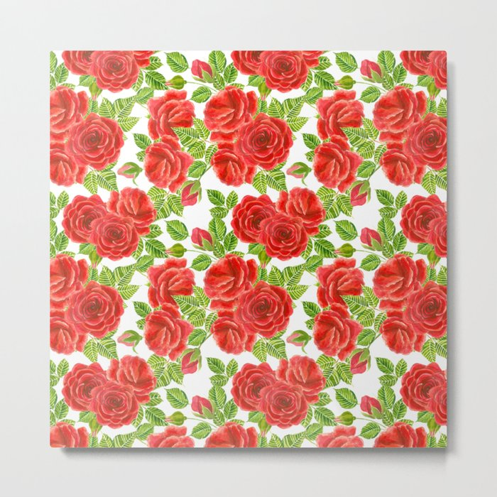Red roses watercolor seamless pattern Metal Print