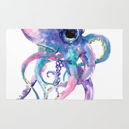 Octopus, Pink purple sea animals design underwater scene painting Rug