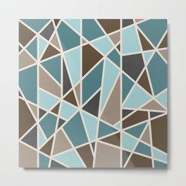 Geometric Design in Teal, Brown and Tan Metal Print