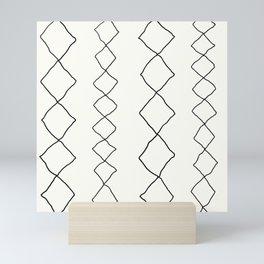 Moroccan Diamond Stripe in Black and White Mini Art Print