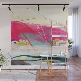 abstract landscape with pink sky over white cloud mountain Wall Mural