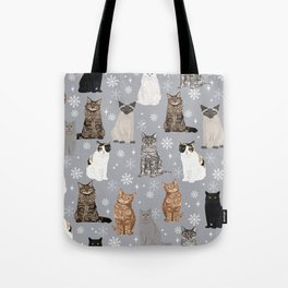 Cat breeds snowflakes winter cuddles with kittens cat lover essential cat gifts Tote Bag