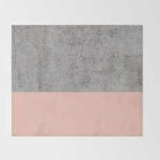 Pale Pink on Concrete Throw Blanket
