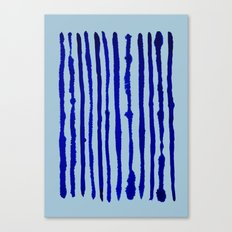 Blue Stripes Watercolor Pattern Canvas Print