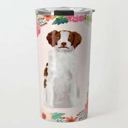 brittany spaniel dog floral wreath dog gifts pet portraits Travel Mug