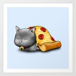 Purrpurroni Pizza Art Print
