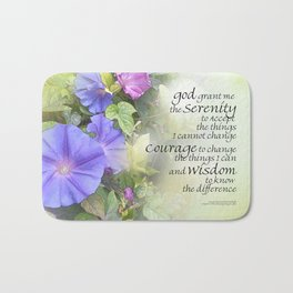 Serenity Prayer Morning Glories Glow Bath Mat