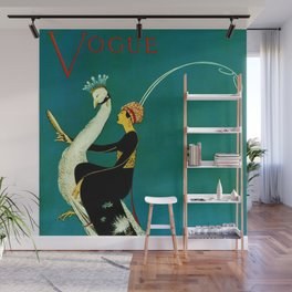 Vintage 1920's Jazz Age Flapper with White Peacock Poster Wall Mural