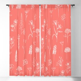 Patagonian wildflowers living Coral Blackout Curtain