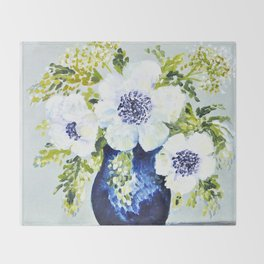 Anemones in vase Throw Blanket