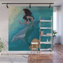 Mermaid and Dolphin Discover Seahorses Wall Mural