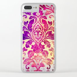 Purple Damask Pattern Clear iPhone Case