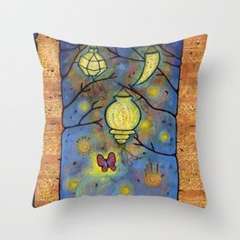 Touching the Light: One Danced with the Fireflies Illumination Print Throw Pillow