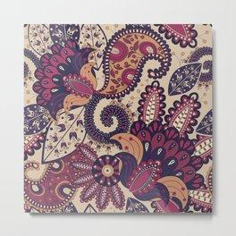 Maroon Boho Paisley & Floral Pattern Metal Print