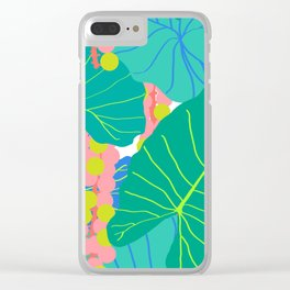 Elephant Ear Leaves + Sea Grapes Clear iPhone Case