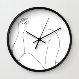 Nude figure line drawing - Elara Wall Clock