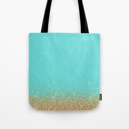 Sparkling gold glitter confetti on aqua teal damask background Tote Bag