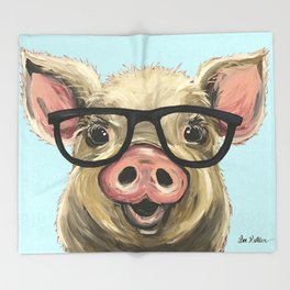 Cute Pig Painting, Farm Animal with Glasses Throw Blanket