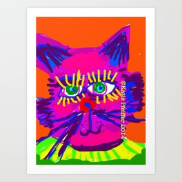Pop Art Cat Head Art Print