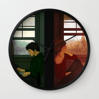 grantaire Wall Clocks featuring Enjolras & Grantaire by rdjpwns