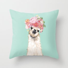 Llama with Flowers Crown #3 Throw Pillow