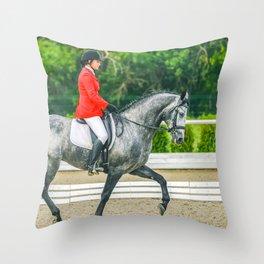 Beautiful girl riding a gray horse Throw Pillow