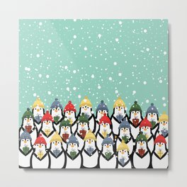 Christmas penguins Metal Print