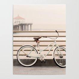 Bicycle at Manhattan Beach Pier, Riding Bikes at the Beach, Beach Art Print, California Summer Poster
