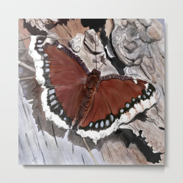 Cloak of Mourning Butterfly Metal Print