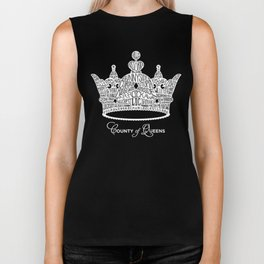 County of Queens | NYC Borough Crown (WHITE) Biker Tank