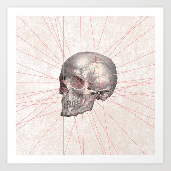 Abstract Gray Vintage Skull Modern Pink Stripes Art Print