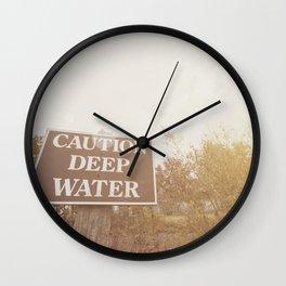 Caution deep water warning sign Wall Clock