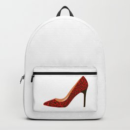 Red Leopard Print High Heel Shoe Backpack