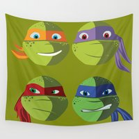 ninja turtles Wall Tapestries featuring Teenage Mutant Ninja Turtles Vector Art by BuySkullCat