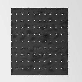 Dot Grid White on Black Throw Blanket