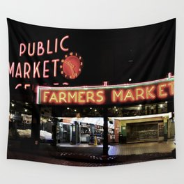 Pike Place Farmers Market - at night Wall Tapestry