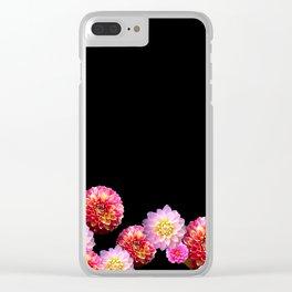 Dahlias on Black Clear iPhone Case
