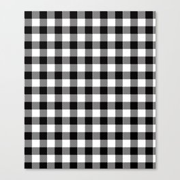 90's Buffalo Check Plaid in Black and White Canvas Print