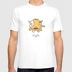 el gato SMALL White Mens Fitted Tee