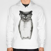 hipster Hoodies featuring Mr. Owl by Isaiah K. Stephens