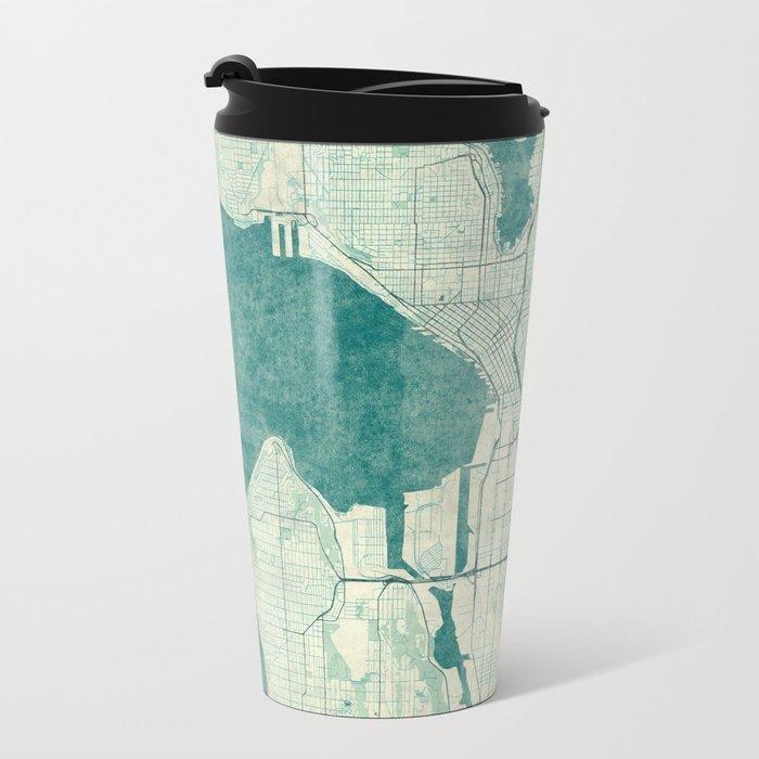 Seattle Map Blue Vintage Metal Travel Mug