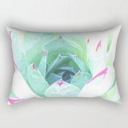 Cactus succulent in green and pink Rectangular Pillow