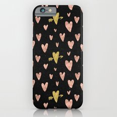 Valentines Day Rose Gold Hearts with Yellow Gold Pattern on Black iPhone 6s Slim Case