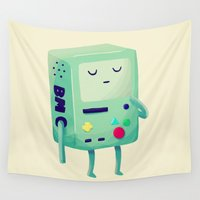 bmo Wall Tapestries featuring Who Wants To Play Video Games? by Nan Lawson