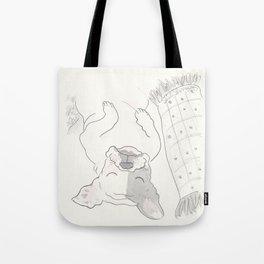 Topsy Turvy Snoozing Frenchie French Bulldog Black & White Tote Bag