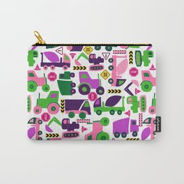 Simple Shapes Construction Vehicles Purple Carry-All Pouch