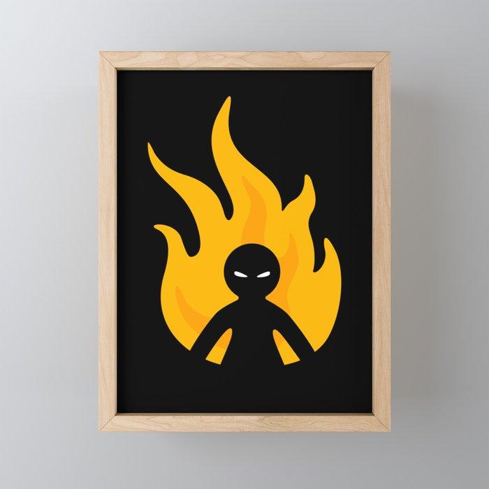 Flaming Anger Framed Mini Art Print