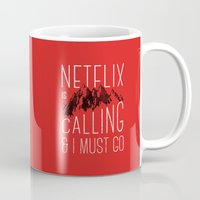 netflix Mugs featuring Netflix is calling by Zeke Tucker